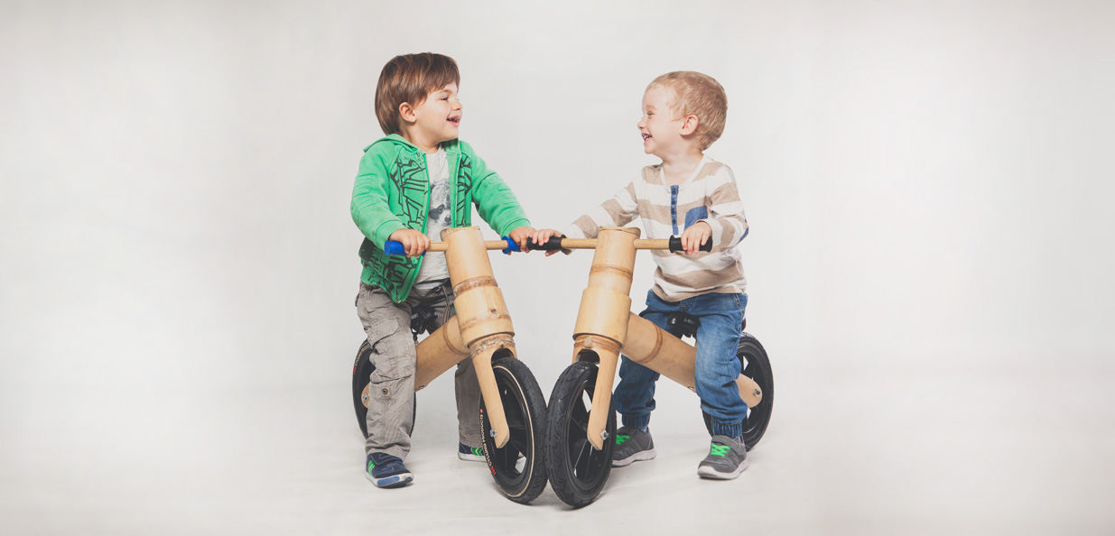 Bicicleta sin pedales de madera de bambú para niños txikikoa